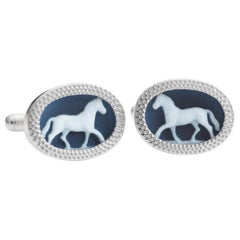 Hand-Carved Horse Agate Cameo Sterling Silver Gemstone Cufflinks