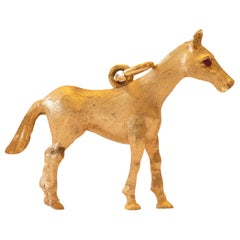 Horse Charm with Ruby Eyes, 14 Karat Yellow Gold