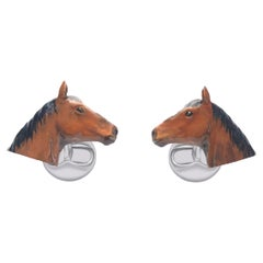 Horse Cufflinks in Hand-enameled Silver  by Fils Unique