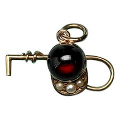 Horse Equestrian Hat Crop Garnet 14K Pearl Charm Pendant Necklace Hunting Riding