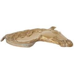 Horse Head Brass Ashtray