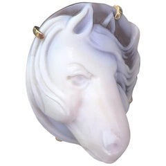 Horse Head Cameo Rose Gold Sterling Silver Ring