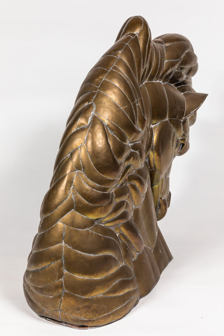 Horse Head Sculpture in Pieced Brass In Good Condition For Sale In Pasadena, CA