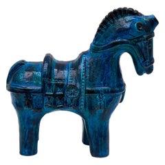"""Horse in Aldo Londi's Iconic Glazed """"Rimini Blu"""" Series for Bitossi, 1960s"""