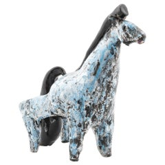 Horse in Glazed Ceramics by French Artist Henri Plisson, 1950s