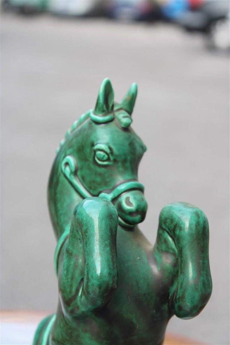 Horse in Green Glazed Ceramic Zaccagnini Italian Design, 1940 For Sale 1