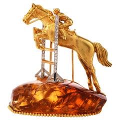 Horse Jumping Diamond Citrine 18 Karat Equestrian Brooch Pin