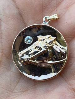 Horse Locket Pendant with European Cut Diamond 14 Karat Yellow Gold, Circa 1940