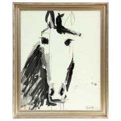 Horse Painting by Jenna Snyder-Phillips, Black and White with Silver Frame