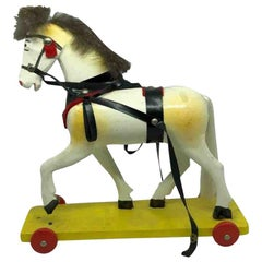 Horse Pull Toy Vintage German Erzgebirge, Germany, 1950s