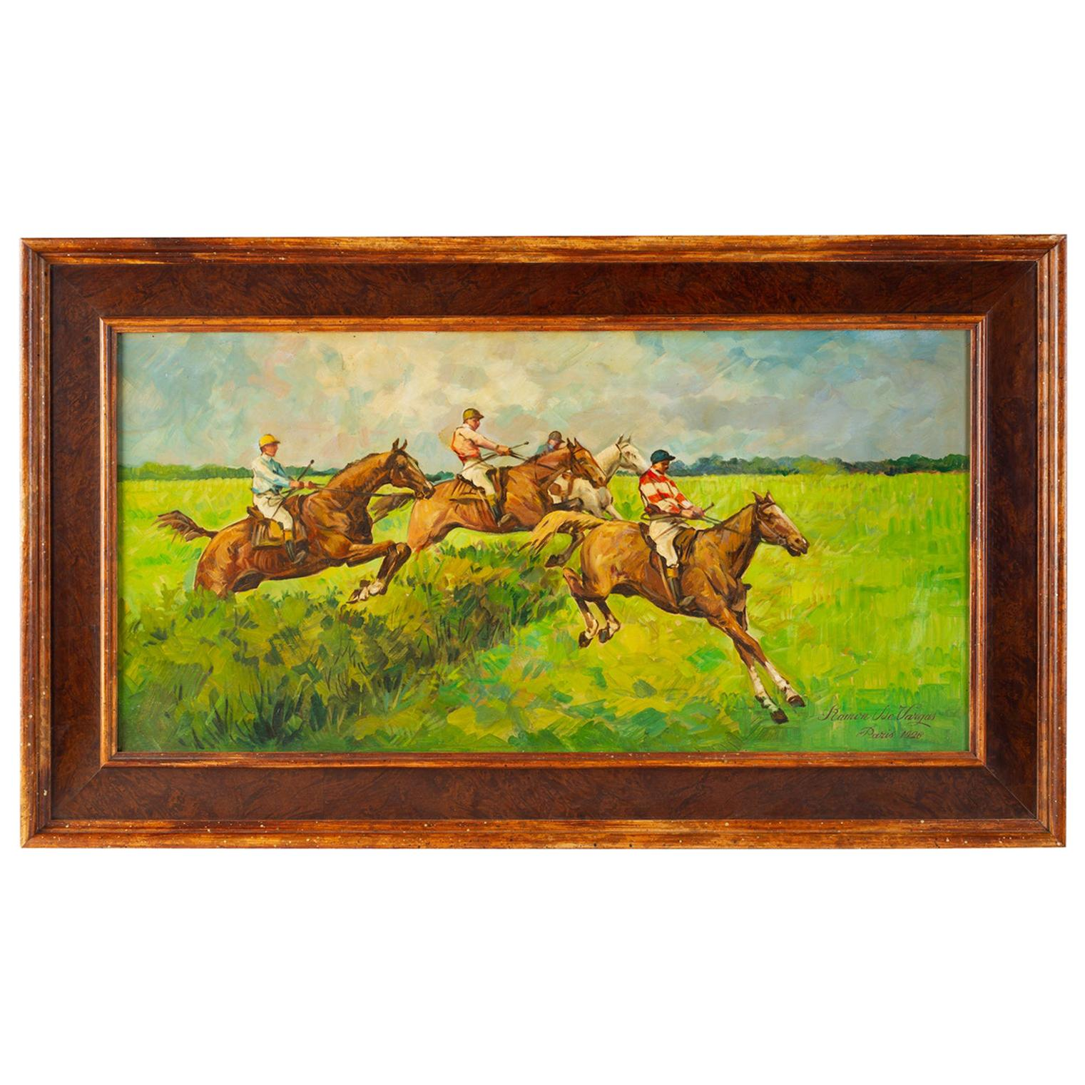 """""""Horse Race"""" Old Painting on Wood"""