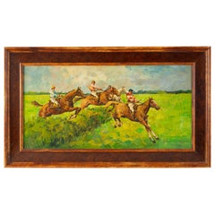 """Horse Race"" Old Painting on Wood"