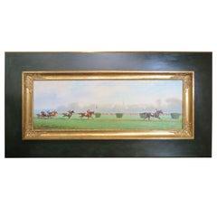 Horse Race Painting by Eugene Pechaubes, circa 1940s