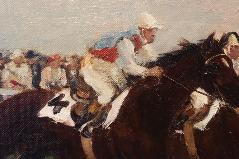 Horse Racing scene in Impressionist style by Otto Dill  For Sale 4