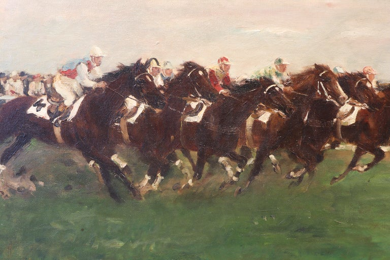 German Horse Racing Scene in Impressionist Style by Otto Dill For Sale