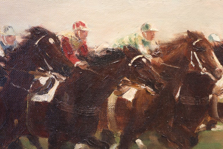 Oiled Horse Racing scene in Impressionist style by Otto Dill  For Sale