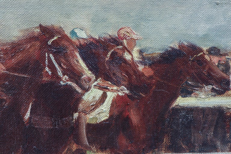 Horse Racing Scene in Impressionist Style by Otto Dill In Good Condition For Sale In Lantau, HK
