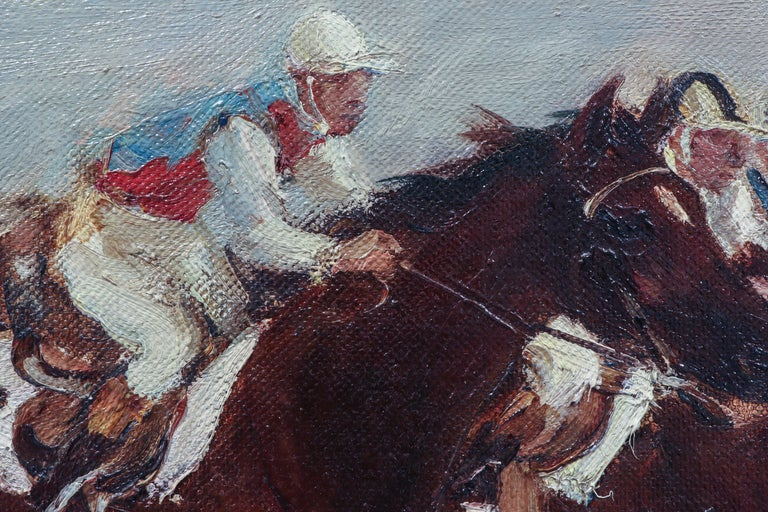 Canvas Horse Racing Scene in Impressionist Style by Otto Dill For Sale