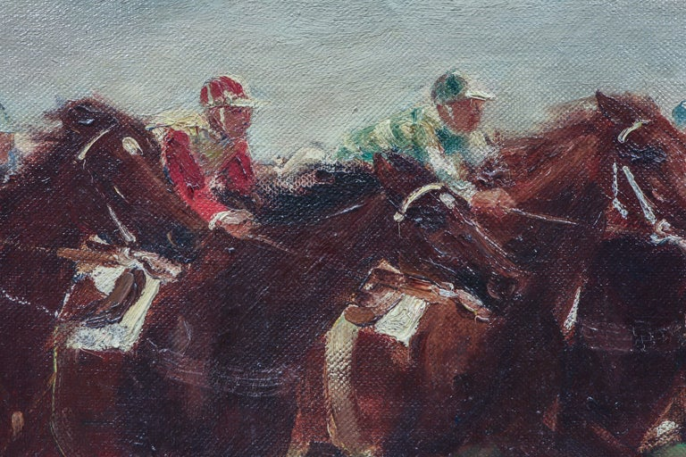 Horse Racing Scene in Impressionist Style by Otto Dill For Sale 2