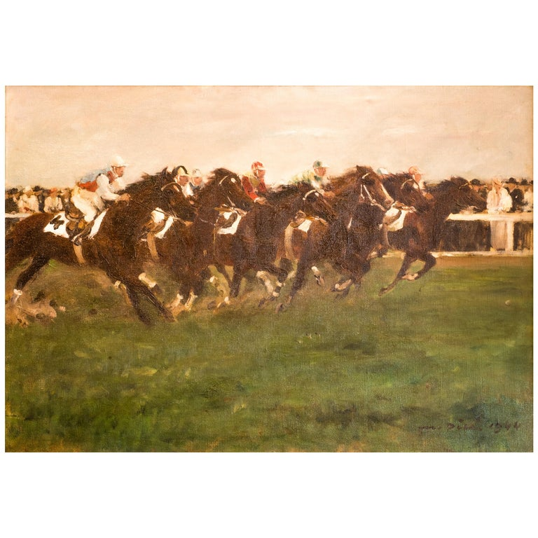 Horse Racing scene in Impressionist style by Otto Dill  For Sale