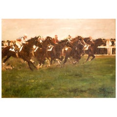 Horse Racing Scene in Impressionist Style by Otto Dill