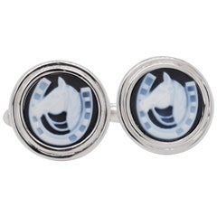 Hand-Carved Horse-Shoe Agate Carving Sterling Silver Contemporary Cufflinks
