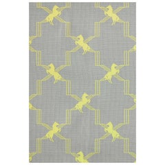 'Horse Trellis' Contemporary, Traditional Fabric in Acid Yellow on Grey