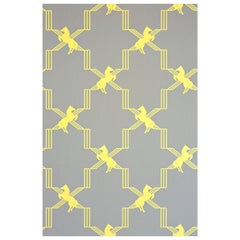 'Horse Trellis' Contemporary, Traditional Wallpaper in Acid on Grey