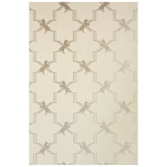 'Horse Trellis' Contemporary, Traditional Wallpaper in Metallic Stone