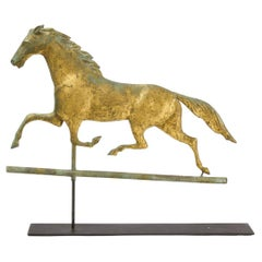 Horse Weathervane with Gilt Surface on Display Stand