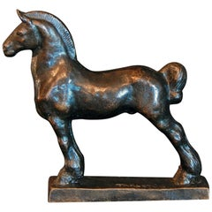 """Horse with Mud Knot,"" Rare and Beautiful Bronze Sculpture of Standing Horse"