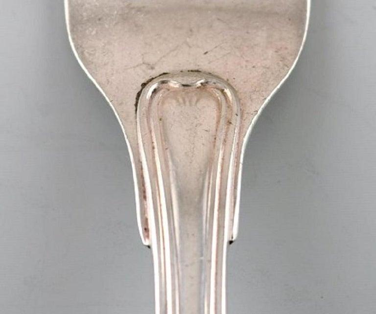 Scandinavian Modern Horsens Silver 'Denmark', Old Danish Dinner Fork in Silver, 1950s, 6 Pieces For Sale