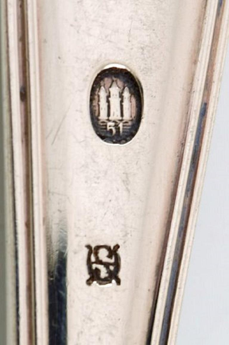 Horsens Silver 'Denmark', Old Danish Dinner Fork in Silver, 1950s, 6 Pieces In Good Condition For Sale In Copenhagen, Denmark