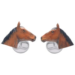 Horses Cufflinks in Hand-enameled Silver by Fils Unique