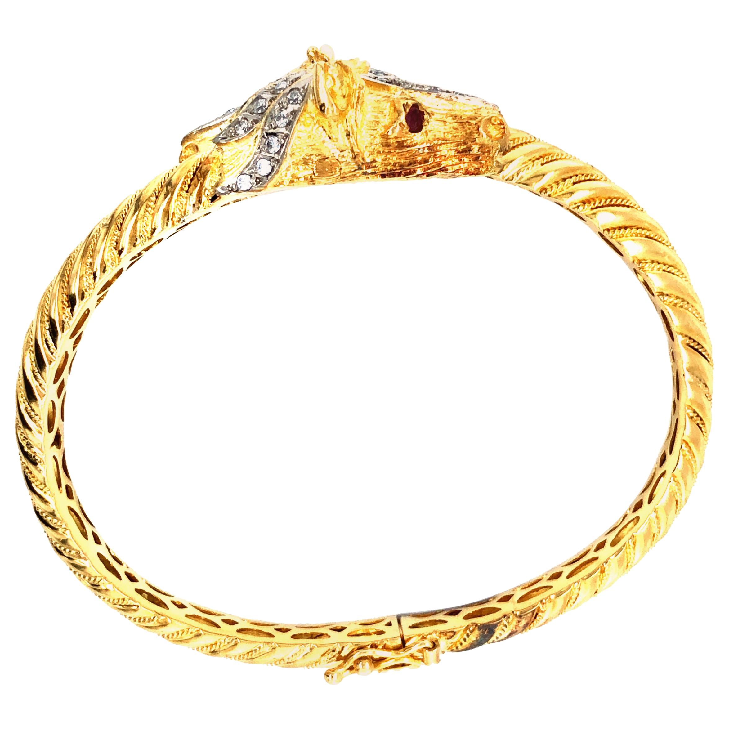 Horses Head 18 Karat Yellow Gold Bangle with Diamonds, Rubies, circa 1970