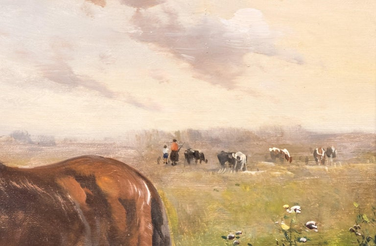 Horses in a Field, Late 19th Century, Oil on Canvas, Henry Shouten In Good Condition For Sale In Lantau, HK