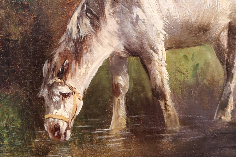 Horses in a Field, Late 19th Century, Oil on Canvas, Henry Shouten For Sale 1