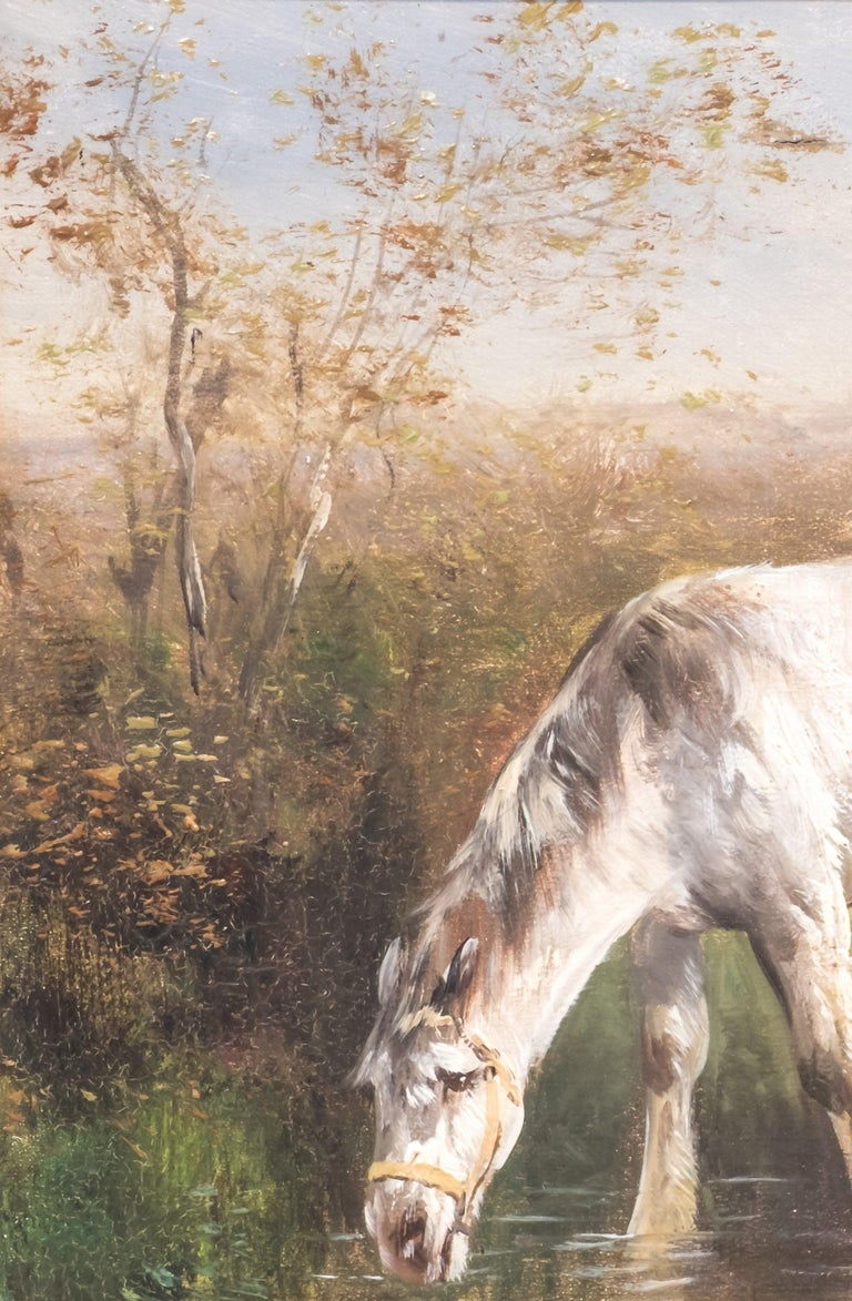 Horses in a Field, Late 19th Century, Oil on Canvas, Henry Shouten For Sale 2
