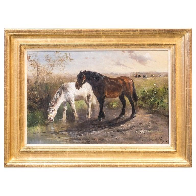 Horses in a Field, Late 19th Century, Oil on Canvas, Henry Shouten For Sale