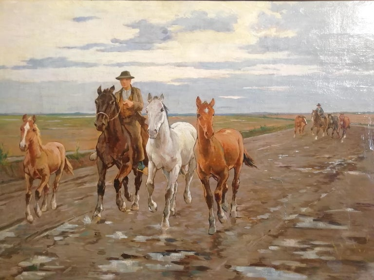 Luigi Gioli (Cascina 1854 - Firenze 1947) Horses in the Tuscan Maremma Signed and lower right: L.Gioli  Luigi Gioli lived with his brother and with him he became assiduous of late-Macchiaioli environments, with whom he shared an interest in