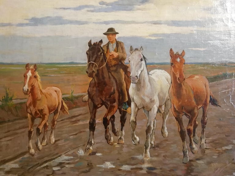 Horses in the Tuscan Countryside- Gioli Oil 19th Century Tuscany Italian Painter In Good Condition For Sale In Rome, Italy