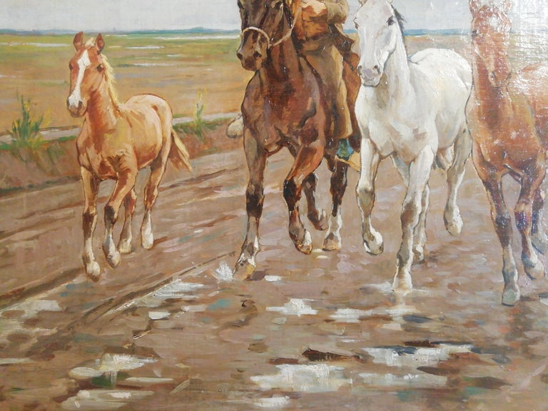 1890s Horses in the Tuscan Countryside- Gioli Oil 19th Century Tuscany Italian Painter For Sale