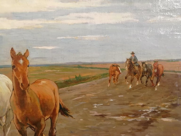 Horses in the Tuscan Countryside- Gioli Oil 19th Century Tuscany Italian Painter For Sale 1