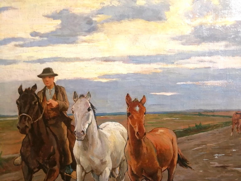 Horses in the Tuscan Countryside- Gioli Oil 19th Century Tuscany Italian Painter For Sale 2
