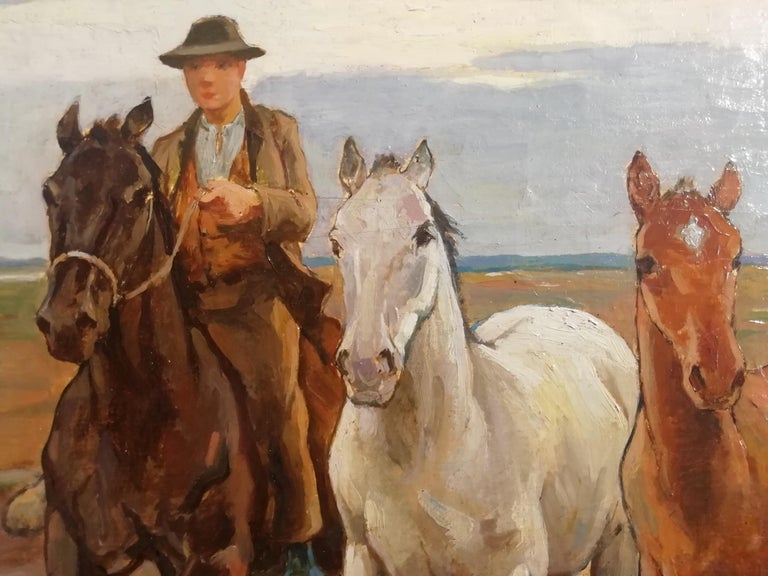 Horses in the Tuscan Countryside- Gioli Oil 19th Century Tuscany Italian Painter For Sale 4