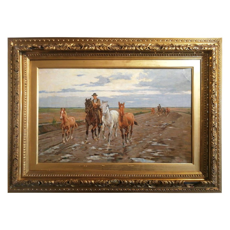 Horses in the Tuscan Countryside- Gioli Oil 19th Century Tuscany Italian Painter For Sale
