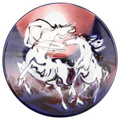 Horses Wall Ceramic Plate by Eliseo Salino Made in San Giorgio Albisola