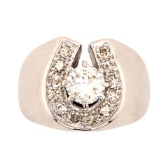 Horseshoe Diamond Ring in White Gold