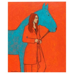 "James Strombotne, painting ""Horsewoman in Red"""