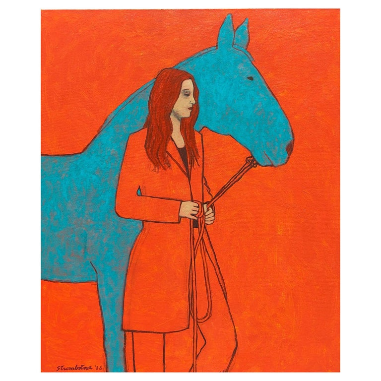 """James Strombotne, painting """"Horsewoman in Red""""  For Sale"""